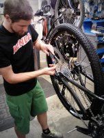 Dialing in the rear shifting performance. We also setup the tires tubeless, using the Trek/Bontrager TLR system.